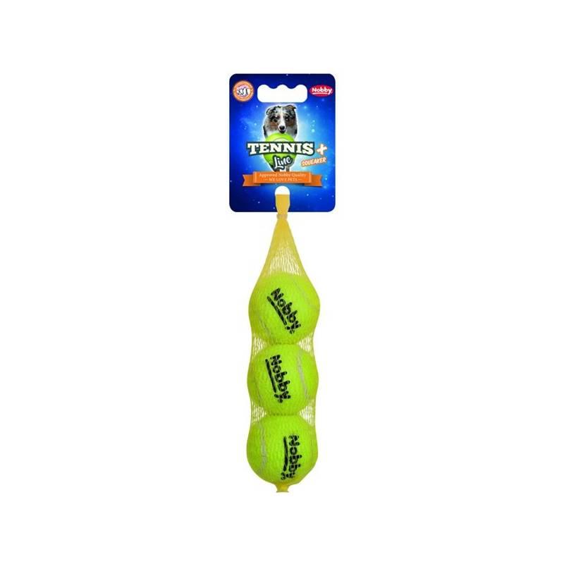 Hračka Nobby tenisový míček S pískátko 5 cm 3 ks