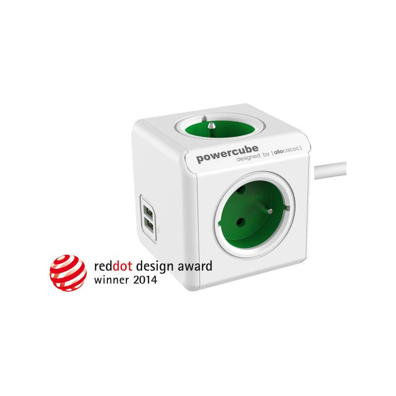 Kábel predlžovací Powercube Extended USB, 4x zásuvka, 2x USB, 1,5m zelená