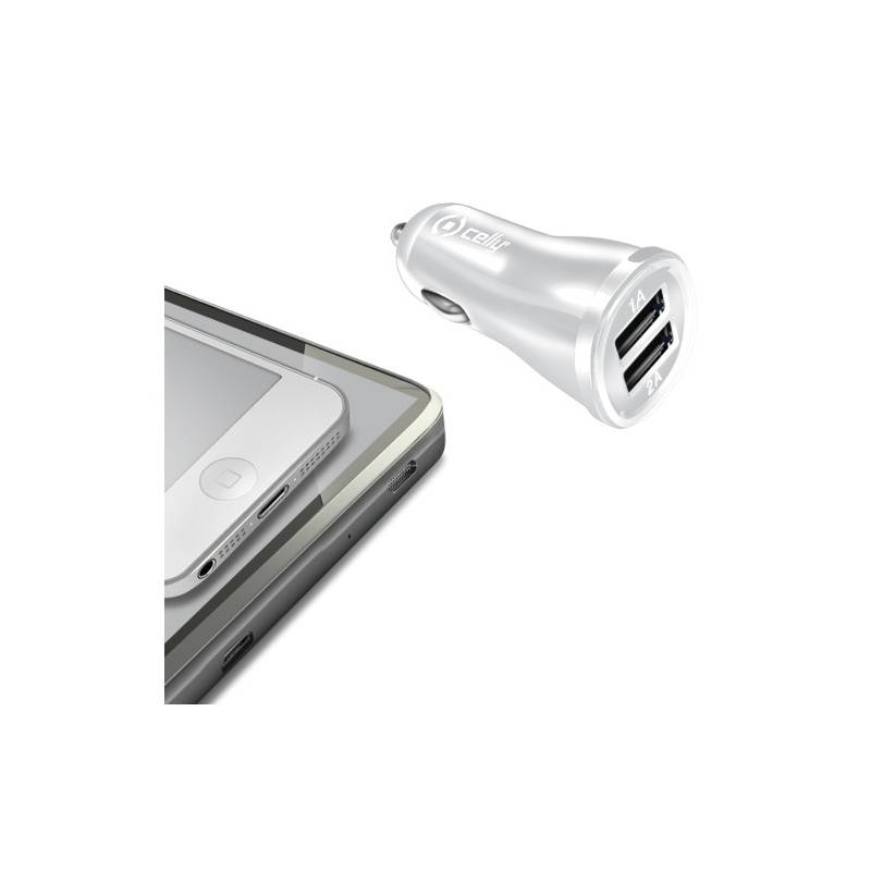 Adaptér do auta Celly 2x USB, 2,1A (CCUSB22W) biely