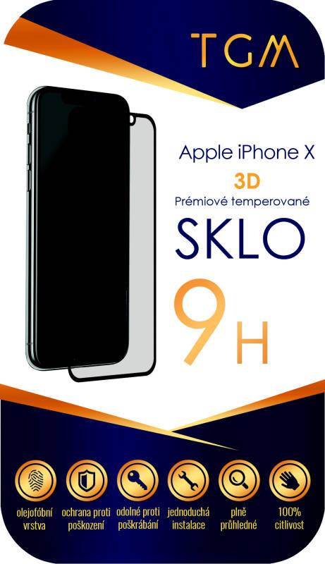 Ochranné sklo TGM 3D pro Apple iPhone X (TGM3DAPIPXBL) černé