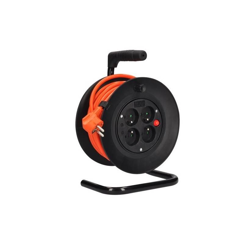Kabel prodlužovací na bubne Solight 4 zásuvky, 15m, 3x 1,5mm2 (PB23O) čierny/oranžový