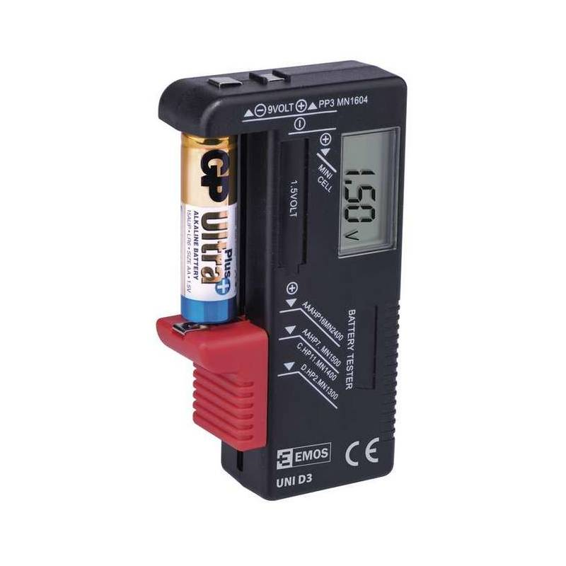 Tester baterii EMOS AA,AAA,C,D,9V, knoflíkové