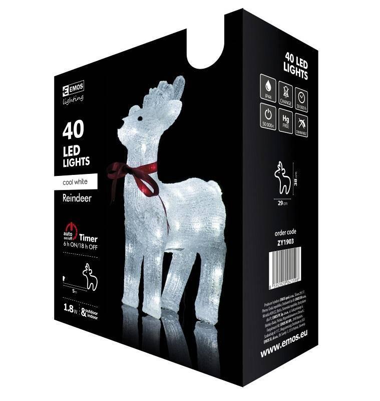 Vianočné osvetlenie EMOS 40 LED, sob, studená bílá, časovač, i venkovní použití (1534190300)