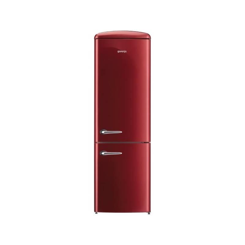 Kombinácia chladničky s mrazničkou Gorenje Retro ORK192R vínová + Doprava zadarmo
