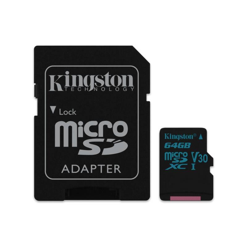 Pamäťová karta Kingston Canvas Go! MicroSDXC 64GB UHS-I U3 (90R/45W) + adapter (SDCG2/64GB)