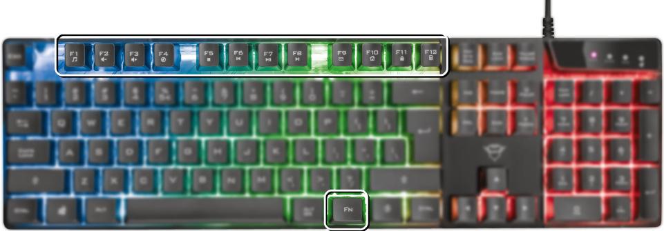 Trust GXT 838 Azor Gaming Combo multimediální klávesy