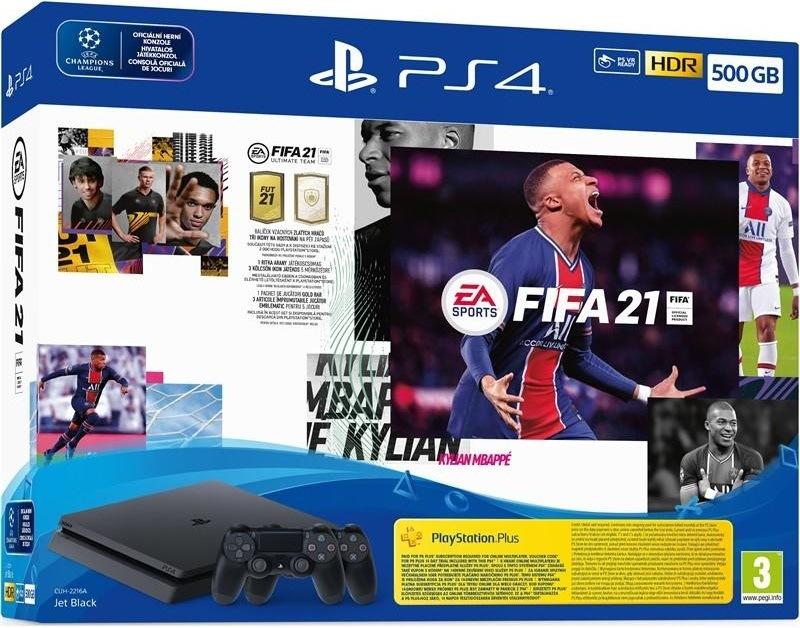 Sony PlayStation 4 Slim + FIFA 21 + 2× bezdrátový ovladač