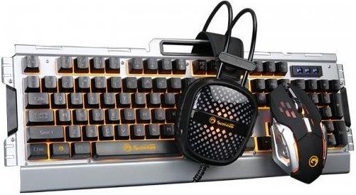 Marvo CM303, klávesnice, myš, headset, černá/stříbrná