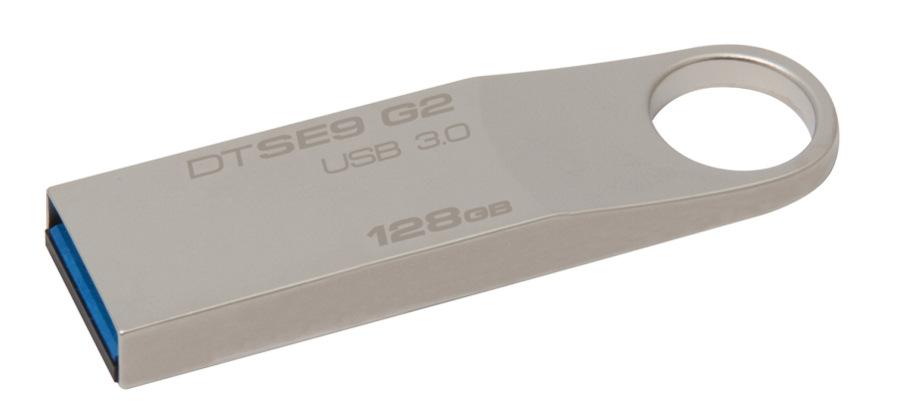 Kingston 128 GB DataTraveler SE9 G2, stříbrná/kov
