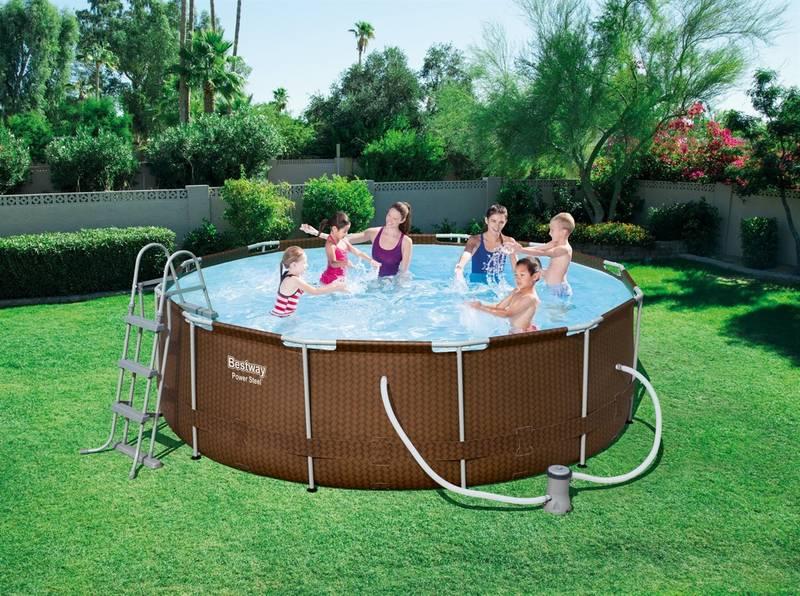 Baz n bestway steel frame pool 366 x 100 cm 56379 for Garten pool 366x122