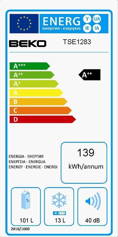 625ab4c5b Chladnička Beko TSE 1283 bílá Chladnička Beko TSE 1283 bílá · Vedlejší  obrázek · Energetický štítek JPG