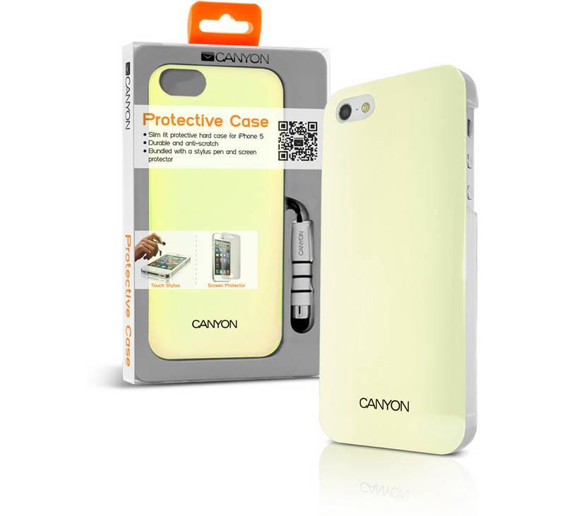 Kryt na mobil Canyon CNA-i5C03W pro Apple iPhone 5 + Stylus (CNA-i5C03W)  žltý 0c77615cbeb