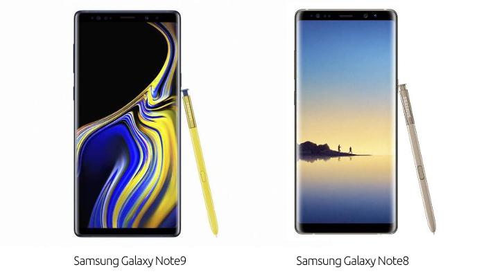 mobilní telefon Note9 a Note8