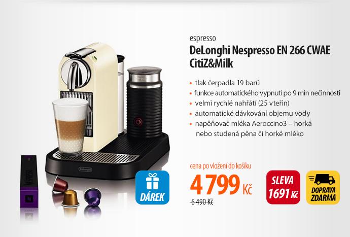 Kávovar DeLonghi Nespresso EN 266 CWAE CitiZ&Milk