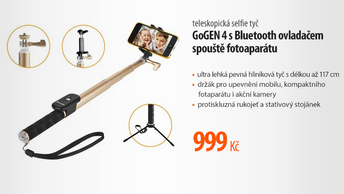Selfie tyč GoGen 4 s Bluetooth ovladačem