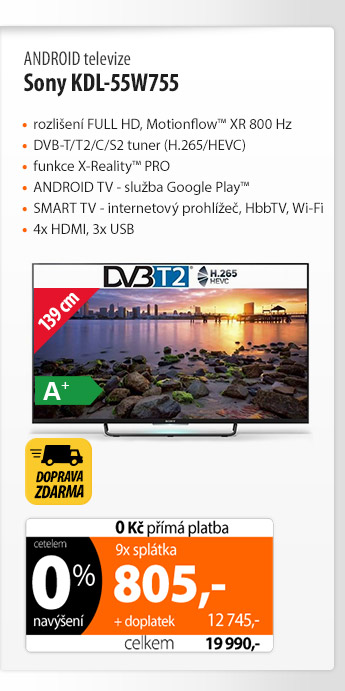ANDROID televize Sony KDL-55W755
