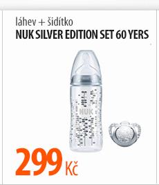 Láhev+šidítko Nuk Silver Edition set 60 yers