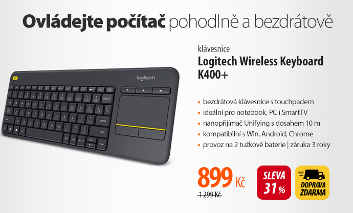 Klávesnice Logitech Wireless Keyboard K400+
