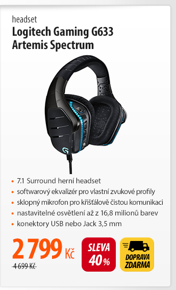 Headset Logitech Gaming G633 Artemis Spectrum