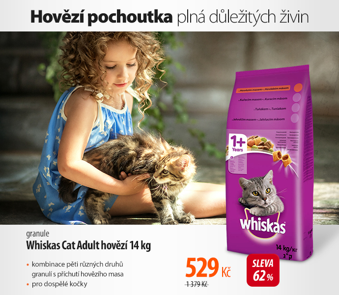 Granule Whiskas Cat Adult hovězí