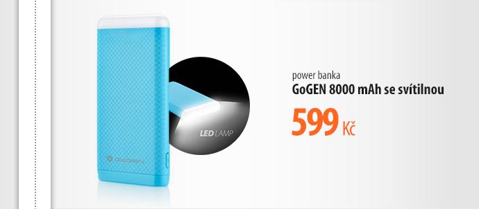 Power banka  GoGen 8000 mAh se svítilnou
