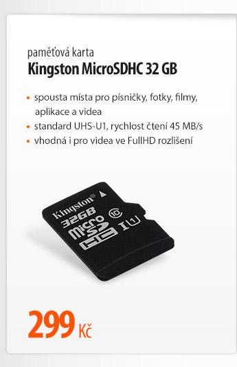 Paměťová karta Kingston MicroSDHC 32 GB